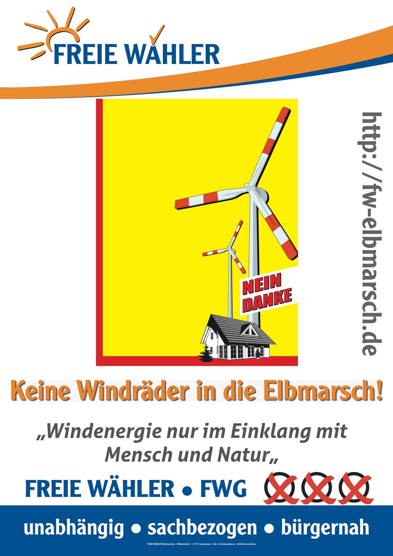 Keine Windräder in die Elbmarsch