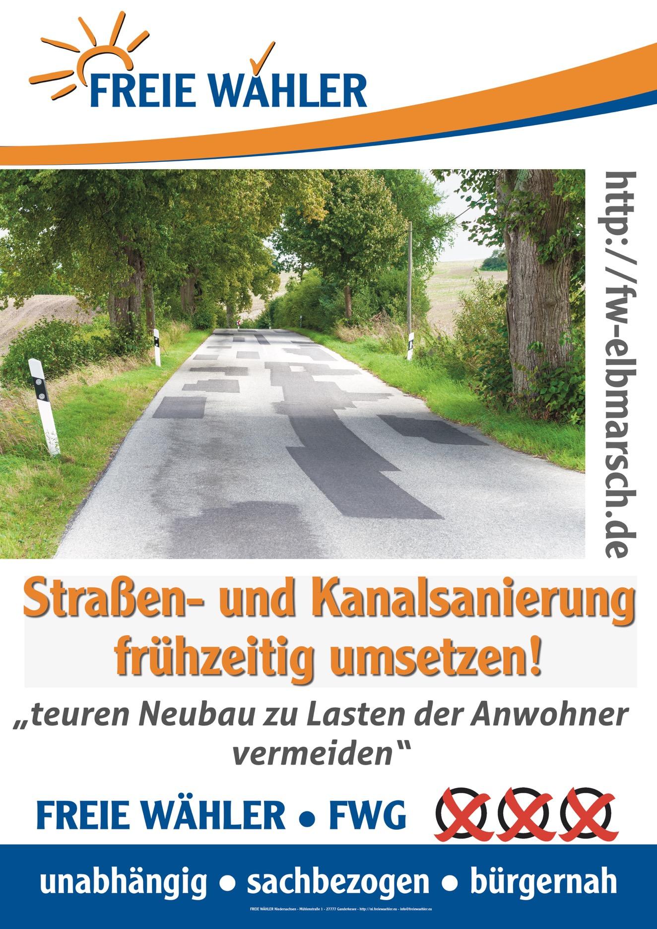 Straßen und Kanalsanierung frühzeitig umsetzen