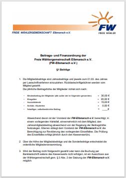 Beitrags- und Finanzordnung